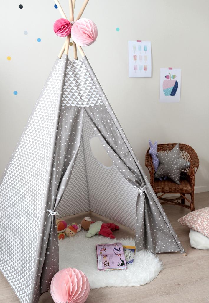 tipi pour enfant g om trique gris taupe creacoton. Black Bedroom Furniture Sets. Home Design Ideas