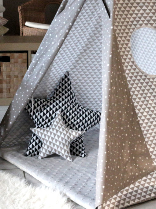 tipi pour enfant g om trique gris creacoton. Black Bedroom Furniture Sets. Home Design Ideas