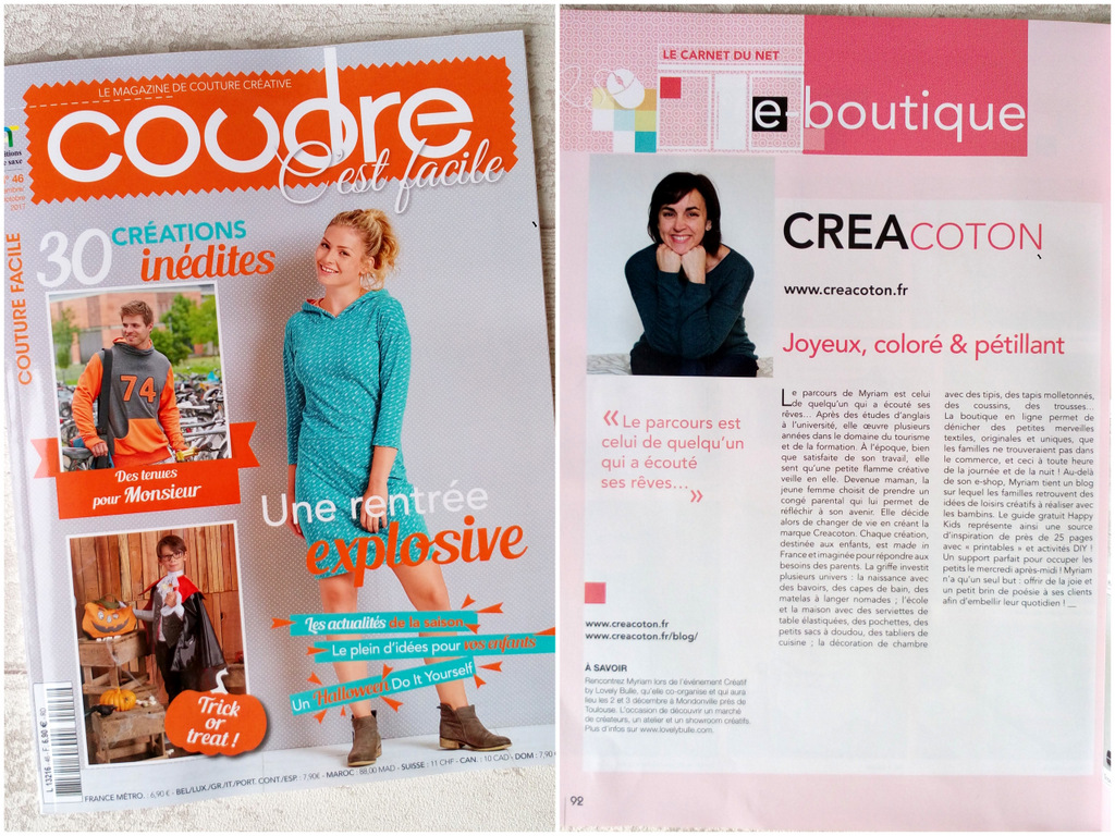 article Creacoton magazine coudre c est facile septembre 2017 5
