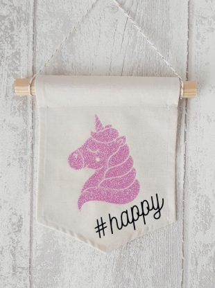 banniere decorative licorne rose paillete happy Creacoton (2)