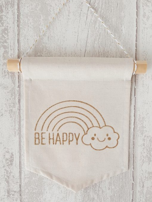 banniere tissu deco be happy arc en ciel or paillete Creacoton (3)