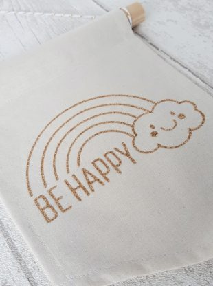 banniere tissu deco be happy arc en ciel or paillete Creacoton (4)